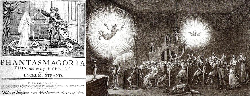 """Apenas estou satisfeito se os meus espetadores, tremendo e estremecendo, levantem as mãos ou cubram os olhos com medo dos fantasmas e demônios que correm na sua direcção. Êtienne-Gaspard Robert (1763-1837).  O teatro """"Fantasmagoria"""" em finais do Século XVIII, utilizava imagens projetadas (de forma oculta) em paredes, em fumo (imagem-fumo) ou ecrãs semitransparentes."""