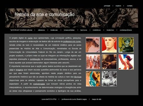 Figura 1: Página principal do <i>site</i> História da Arte e Comunicação (www.beatrizlagoa.com.br)