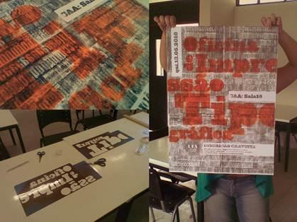 Figura 7: Sequencia de imagens da Equipe do LTA produzindo, com técnica mista, cartazes para oficina de impressão tipográfica. Fotos: Buggy.