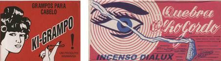 Figura 1: Embalagem de grampos <i>Ki-grampo</i> e embalagem de incenso <i>Quebra olho gordo.</i>