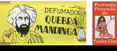 Figura 9: Embalagem de defumador <i>Quebra mandinga</i> e perfume da <i>Pomba Gira</i> impressas em duas cores.