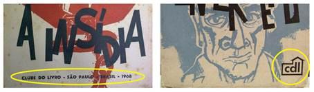Figura 8: Detalhes de capas, respectivamente, de <i>A insídia</i>, de Joan Tenzate (junho de 1968), e de <i>O enfermeiro</i>, de Machado de Assis (julho de 1968), mostrando a mudança de identificação da editora.