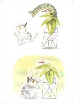 Figura 3: Representação do instante movimento em <i>O gato Viriato</i>. O pulo do gato, no susto que ele leva, se dá num instante muito breve e é ao mesmo tempo a essência da ação retratada: o susto.