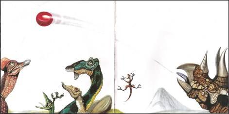 Figura 6: Os olhares de todos os personagens representados direcionam-se para a bola, que descreve um movimento, em <i>O próximo dinossauro</i>.