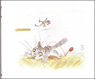 Figura 7: A bola arremessada pelo lagarto na cabeça do gato descreve sua trajetória com uma linha de movimento, em <i>O gato Viriato</i>.