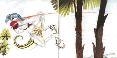 Figura 8: A bola agarrada pelo dinossauro descreve sua trajetória e sugere velocidade com um borrão na imagem, em <i>O próximo dinossauro</i>.
