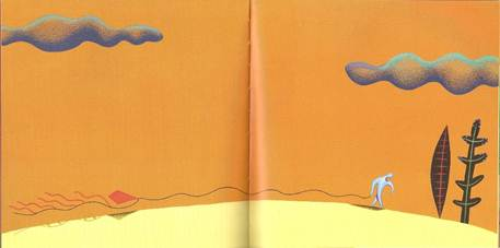 Figura 9: Em <i>A pipa</i>, Roger Mello faz a narrativa avançar para o fim com muitas ilustrações em que o protagonista aparece deslocando-se para a direita.