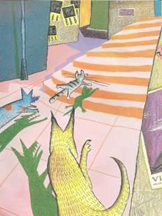 Figura 12: Exemplo arquetípico da narrativa visual como uma relação de <i>pausa</i> entre história e discurso. O conjunto de detalhes e expressões que a imagem apresenta ao leitor permite uma duração maior no discurso de um instante que, na história, é bem mais breve: dois cães correndo atrás de um gato. Do livro <i>Viriato e o leão</i>.