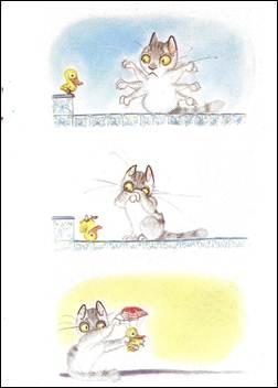 Figura 14: O salto do pato, na tentativa de voo entre a primeira e a segunda ilustração desta página, é inferido na sarjeta, no espaço vazio que as separa. Não é possível ver o salto, mas presume-se que ele tenha ocorrido. O ilustrador, nesse caso, conta com o leitor como um cúmplice.