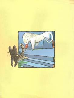 Figura 18: Nesta imagem, Viriato desce as escadas olhando para trás, convidando o leão a segui-lo para fora do quadro.