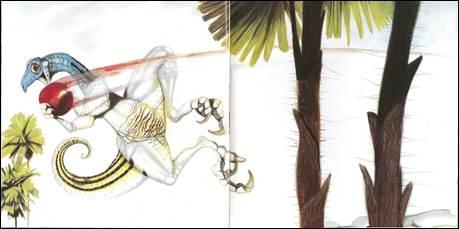 Figura 20: Quarta e quinta páginas duplas de <i>O próximo dinossauro</i>. A montagem segue o encadeamento de uma ação.