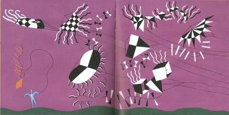 Figura 21: Segunda e terceira páginas duplas de <i>A pipa</i>. A sucessão de páginas apresenta uma reconfiguração total do espaço.