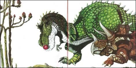 Figura 23: Segunda e terceira páginas duplas de <i>O próximo dinossauro</i>. A presença de metade do tricerátopo na dupla anterior anuncia a tomada da bola do tiranossauro, representada logo em seguida.