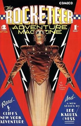 Figura 2 - Rocketter, personagem nostálgico de Dave Stevens, nas edições da Comico Comics (1988).
