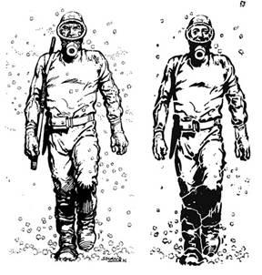 Figura 5 – Imagens de El Eternauta, no desenho de Solano López, e El Nestornauta, em estêncil (fonte: http://en.wikipedia.org/ e http://www.taringa.net/).