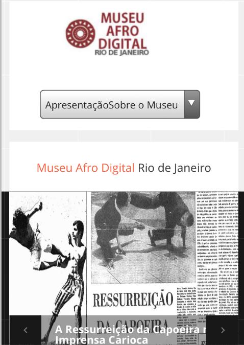 Página inicial do Museu Afrodigital em 2015