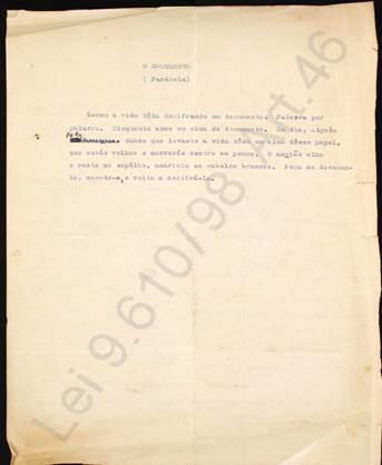 O documento (parábola). Fonte: AMR/AEM/CELC/UFMG.