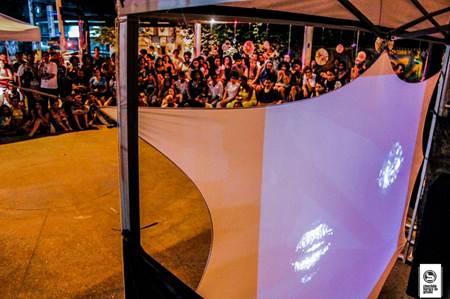 Exibição do Cineclube Buraco do Getúlio, na Praça de Direitos Humanos, centro de Nova Iguaçu, 2016.