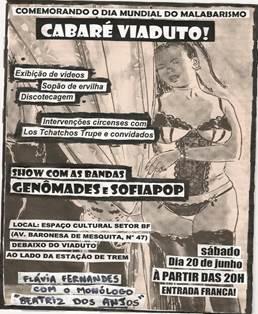 Eflyer da primeira festa Cabaré Viaduto, produzida pela Geração Delírio, 2009.