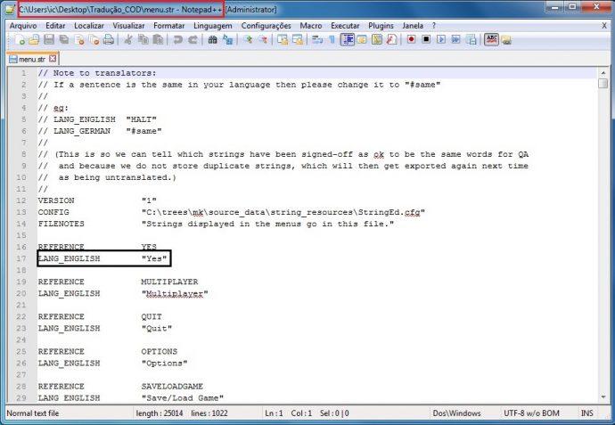 Figura 2: Instantâneo do arquivo a ser traduzido no software Notepad++. / Fonte: obtida pelos autores por meio do programa Notepad++.