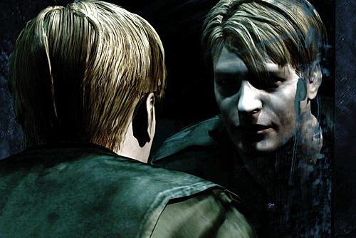 James Sunderland no espelho, primeira cena do videogame Silent Hill 2