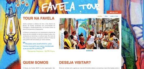 Identidade visual do hotsite do circuito turístico cultural do Museu de Favela Fonte: Produção: Lupa ECO-UFRJ. Disponível em: www.museudefavela.org Acesso em: 21 de set 2017