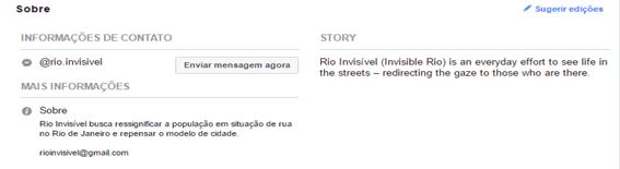 """Imagem do campo """"Sobre"""", da página Rio Invisível, no Facebook. Encontram-se informações de contato e também constam os objetivos da página. Fonte: facebook/rioinvisivel"""