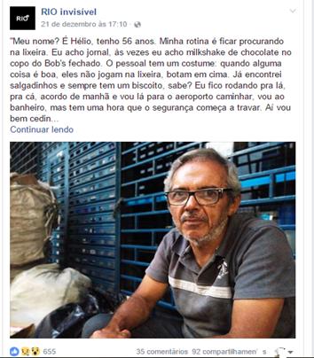 Postagem de 21 de dezembro de 2016. A história de Hélio, pessoa em situação de rua entrevistada pelo grupo. Fonte: Facebook/rioinvisivel