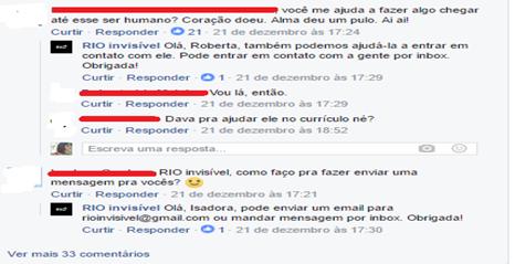 Comentários na postagem do Sr. Hélio. Manifestações dos usuários e visitantes da página e respostas do grupo. Fonte: Facebook/rioinvisivel