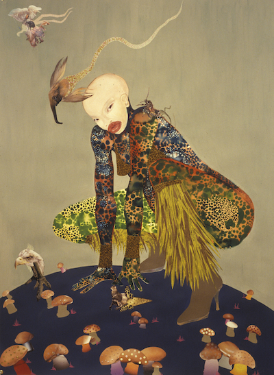 """Riding Death in My Sleep"" (2002), da artista contemporânea keniana Wangechi Mutu (nascida em Nairobi, 1972). Collection of Peter Norton, New York. © Wangechi Mutu Disponível em: ver https://www.artsy.net/artwork/wangechi-mutu-riding-death-in-my-sleep"