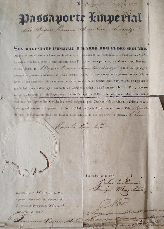 Detalhe do passaporte do Aracaty