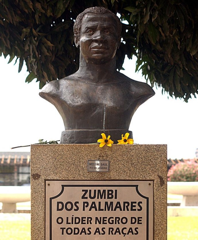 "Monument to Zumbi in Brasília, extolling him as the ""Black Leader of All Races""."