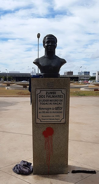 The monument vandalized in 2018.