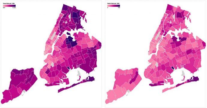 Taxa de casos de Covid-10 (esquerda) e taxa de mortalidade (direita) por 100 mil habitantes por código postal na cidade de Nova York, 1º de julho de 2020 (nyc.gov)