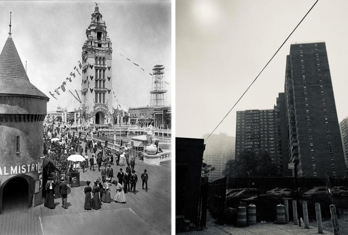 Parque Dreamland, 1905 (New York Times); Trump Village, 2020 (R. Laddaga). Acervo pessoal.