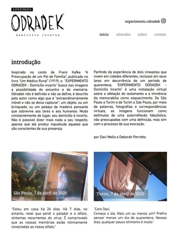 Figura 2: Página inicial do site Experimento Odradek – Domicílio Incerto. Disponível em: https://www.experimento-odradek.com/
