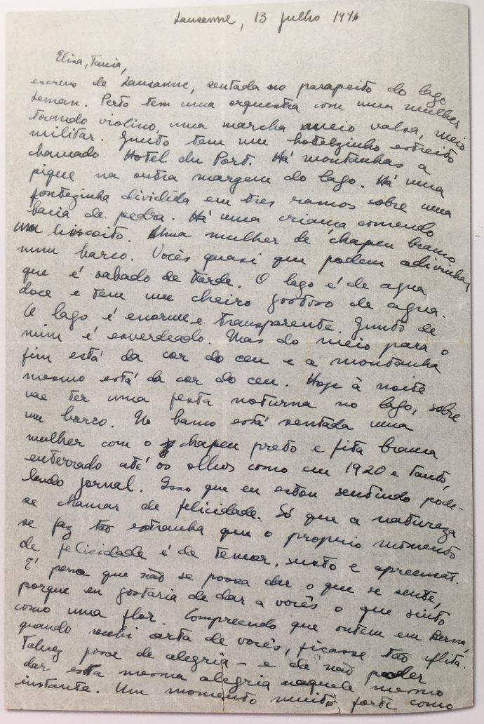 Carta de Clarice às irmãs, Elisa e Tânia. (Gotlib, Nádia Battella. Clarice Fotobiografia. 3ª ed. São Paulo: EdUSP, 2014.)